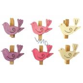 Vtáčiky s kolíčkom drevení 4 cm, 6 kusov