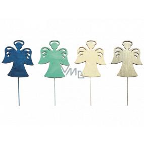 Anjel drevený modro-zeleno-béžovo-prírodné 8 cm + drôtik 1 kus