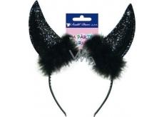 Čertovské rohy čierne čelenka 1 kus