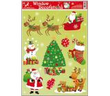 Room Decor Okenní fólie bez lepidla vánoční motivy uprostřed vánoční stromek 42 x 30 cm