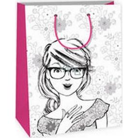 Ditipo Darčeková papierová taška k vymaľovanie 22 x 10 x 29 cm biela dievča s okuliarmi Kreativ 40