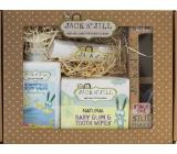 Jack N Jill BIO Balíček pre novorodencov Simplicity sprchový gél 300 ml + zubná kefka na prst 2 ks + zubná pasta 50 g + obrúsky na zuby 25 ks + gél na zúbky + krabička, darčeková sada