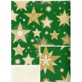 Nekupto Darčekový baliaci papier 70 x 200 cm Vianočný Zelený so zlatými hviezdami