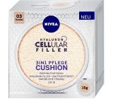 Nivea Hyaluron Cellular Filler 3v1 ošetrujúci tónovací krém make-up v hubke 03 Tmavý odtieň 15 g
