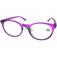 Berkeley Čítacie dioptrické okuliare +1,0 plast fialovej, okrúhle sklá 1 kus MC2171