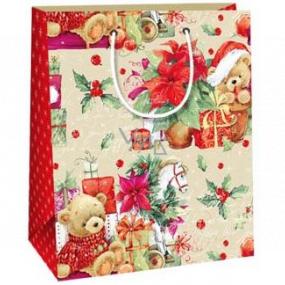 Ditipo Darčeková papierová taška 18 x 10 x 22,7 cm medvedíky darčeky Vianočná hviezda