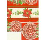 Nekupto Darčekový baliaci papier 70 x 500 cm Červenobéžový vianočná hviezda