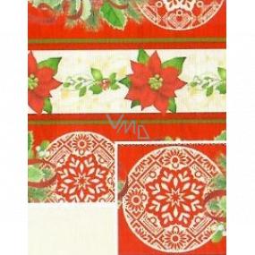 Nekupto Darčekový baliaci papier 70 x 500 cm Vianočná Červenobéžový hviezda