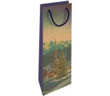 Nekupto Darčeková Kraftová taška na fľašu 15 x 40 cm Vianočný zimná krajina 613 WHLH