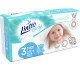 Linteo Baby Premium 3 Midi 5 - 9 kg jednorazové plienky 54 kusov