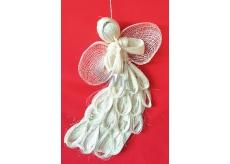 Anděl abaca letící plochý s obloučky stříbrný 31 cm