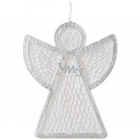 Emóciám Anjel sviečka bielo-strieborná 95 x 30 x 120 mm