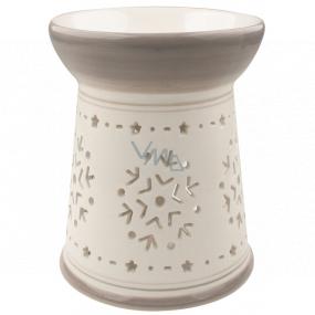 Aromalampa keramická bielošedá s vločkou 15 cm