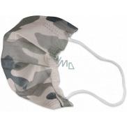 Rúška 3 vrstvová ochranná zdravotné netkaná jednorazová, nízky dýchací odpor pre deti 10 kusov Kamufláž