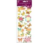 Room Decor Samolepky motýlci a květiny s glitry žlutí 34,5 x 12,5 cm