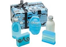 Bomb Cosmetics distingvovaná Gentleman telové mlieko 200 ml + sprchový gél 200 ml + balistik 200 g + mydlo 2 x 100 g, kozmetická sada