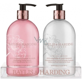 Baylis & Harding Ružová magnólia a Hruškový kvet tekuté mydlo 500 ml + mlieko na ruky 500 ml, kozmetická sada