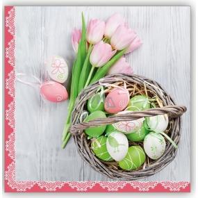 Aha Veľkonočné papierové obrúsky 3 vrstvové 33 x 33 cm 20 kusov kraslice, ružové tulipány