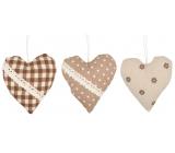 Srdce látkové na zavesenie 10 cm 1 kus