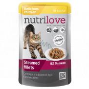 Nutrilove Dusené filetky so šťavnatým kuracím v omáčke kompletné krmivo pre mačky kapsička 85 g