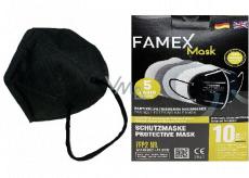 Famex Respirátor ústnej ochranný 5-vrstvový FFP2 tvárová maska čierna 10 kusov