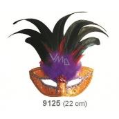 Škraboška plesová zlatá s čiernym perím 30 cm vhodná pre dospelých