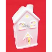 Porcelánový domček LED svietiaci výška 11 cm