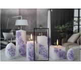 Lima Květinová svíčka fialová hranol 45 x 120 mm 1 kus