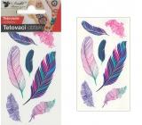Tetovací obtisky barevná pírka 10,5 x 6 cm