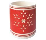 Svietnik keramický červený s vločkou 9 cm