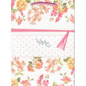 Ditipo Darčeková Kraftová taška strednej 22 x 10 x 29 cm ružové kvety