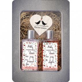 Bohemia Gifts Šťastný domov sprchový gél pre ženy 250 ml + šampón na vlasy 250 ml + drevené srdce 1 kus, plechový box kozmetické sada