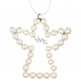 Anjel kovový závesný s bielymi perlami 9 cm