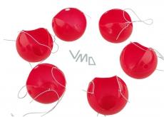 Červený nos, nos klaun, plastové nosy s gumičkou 6 kusov