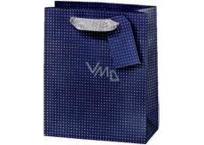 BSB Luxusná darčeková papierová taška 36 x 10,5 x 10 cm Tmavo modrá s bodkami LDT 374-F