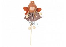 Anjel v puntíkatých šatách (hnedé) 11 cm + špajle