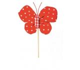 Motýľ látkový zápich 8 cm + špajle bodkami