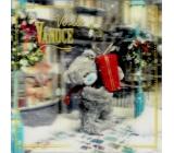 Me to You Blahoželania do obálky 3D Prianie k Vianociam, Vianočné medveď s darčekom 15,5 x 15,5 cm