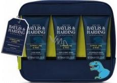 Baylis & Harding Men Citrus, Limetka a Mäta umývací gél na telo a vlasy 100 ml + umývací gél na tvár 100 ml + balzam po holení 100 ml + kozmetická taška s motívom dinosaura, kozmetická sada