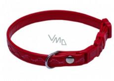 B & F Obojok Koženka nastaviteľný prešité vlnky červený 1,2 x 18 - 28 cm