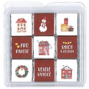 Nekupto Čokoládové puzzle vianočné Domčeky 11 x 11,5 x 0,7 cm, 9 x 5 g