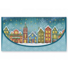 Nekupto Priania obálka na peniaze vianočné Domčeky 116 x 220 mm