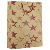 Nekupto Darčeková Kraftová taška 31 x 42 x 10 cm Červené hviezdy 544 KHXL