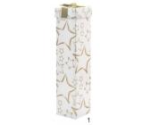 Dárková krabička skládací na lahev vánoční bílá zlaté hvězdy 34 x 8 x 8 cm