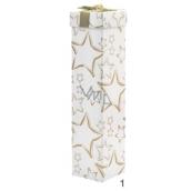 Anjel krabička skladacie na fľašu vianočné biela zlaté hviezdy 34 x 8 x 8 cm
