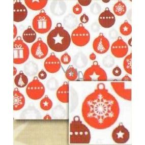 Nekupto Baliaci papier vianočné Biely - červenej, striebornej, hnedej banky 0,7 x 5 m