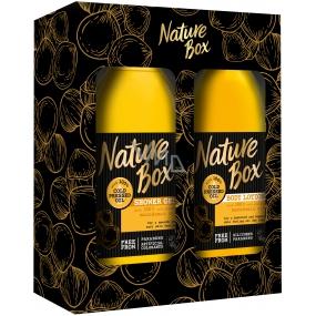 Nature Box Makadamové sprchový gél so 100% za studena lisovaným olejom, vhodné pre vegánov pre jemnú pokožku 385 ml + telové mlieko 385 ml, kozmetická sada