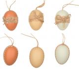 Vajíčka plastová prírodné farby na zavesenie 6 cm, 6 kusov v sáčku