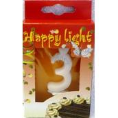 Happy light Tortová sviečka číslica 3 v krabičke