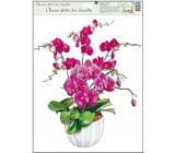 Okenné fólie bez lepidla orchidey tmavo ružová 42 x 30 cm